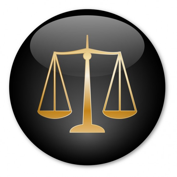 """Scales of Justice"" button (Gold)"